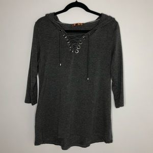 Belldini gray hooded knit top with grommet detail